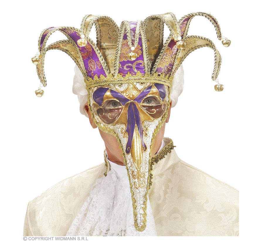 Venetian deluxe mask with a jolly long nose   Venetian mask with bells