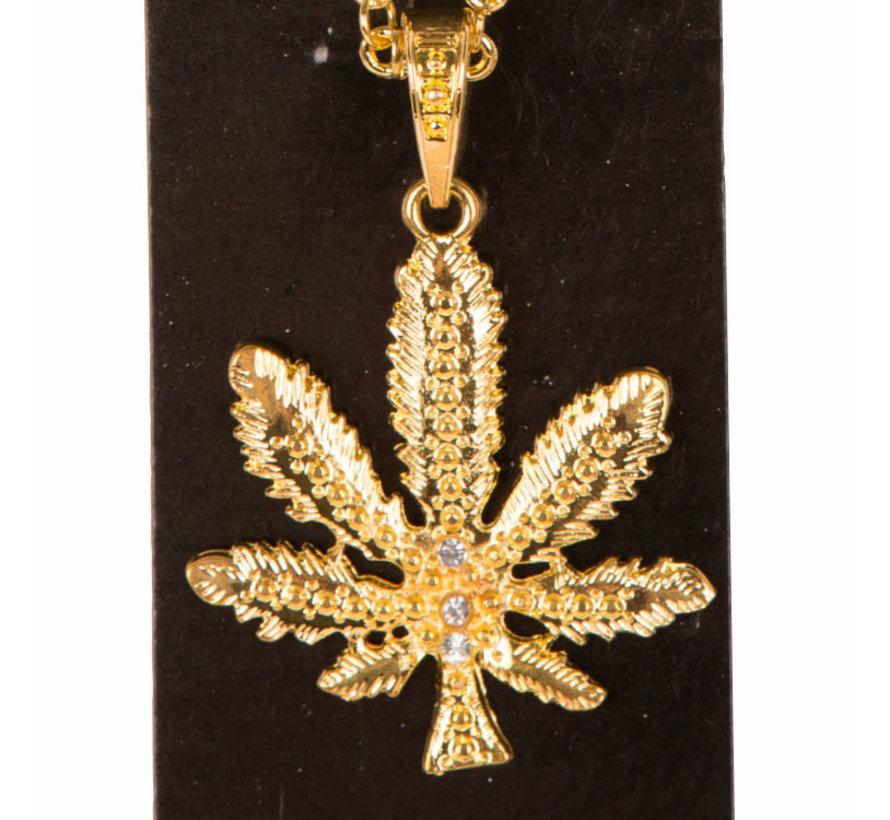 Collier de luxe de couleur or avec feuille de cannabis - Collier avec symbole Marihuana / Cannabis
