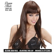 Widmann Higher quality brown wig chérie with long straight hair and bangs - Widmann Pro Dream Hair