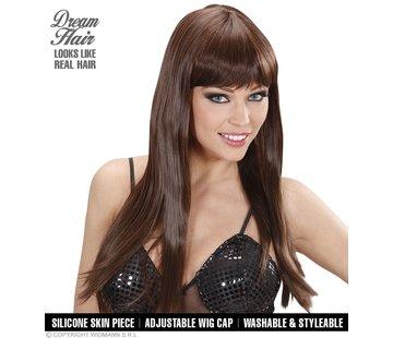 Widmann Hogere kwaliteit bruine pruik chérie met lang steil haar en pony  - Widmann Pro Dream Hair