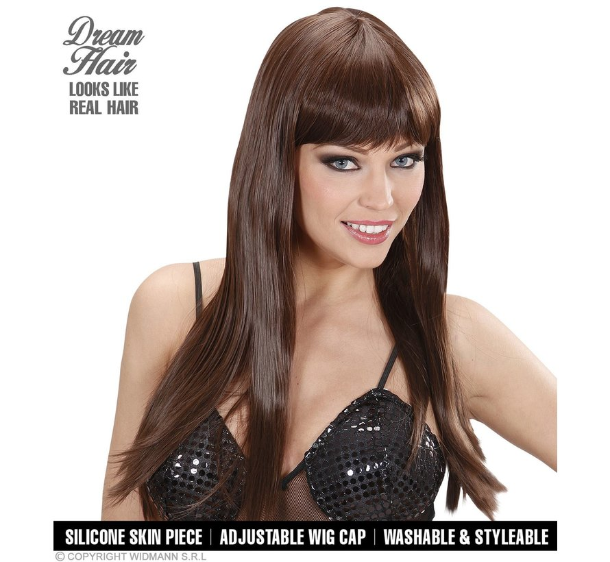 erruque brune de qualité supérieure chérie avec de longs cheveux raides et une frange   Widmann Pro Dream Hair