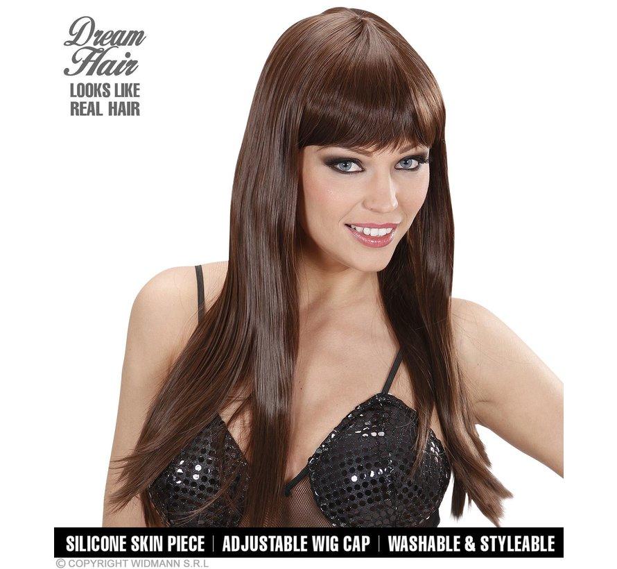 Hogere kwaliteit bruine pruik chérie met lang steil haar en pony  - Widmann Pro Dream Hair