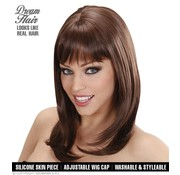 Widmann Higher quality brown wig Ashley with a wavy straight and bangs - Widmann Pro Dream Hair