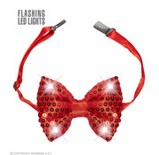 Widmann Red Sequin Bow Tie with 4  flashing Led Lights - Bow tie is adjustable