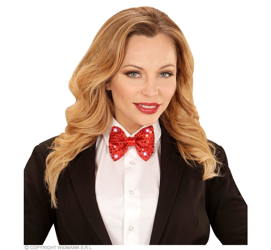 Red Sequin Bow Tie with 4  flashing Led Lights - Bow tie is adjustable