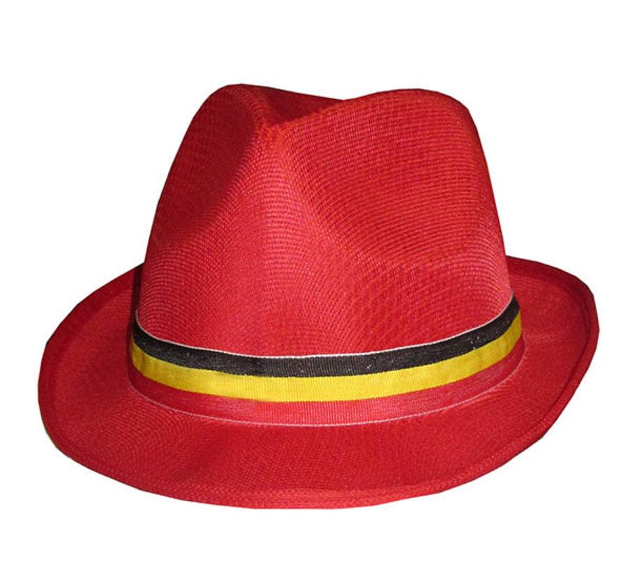 Chapeau gangster rouge supporter Belgique adulte