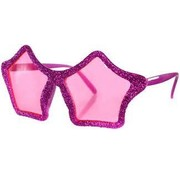 Partyline Disco glitter glasses star-shaped pink for adults