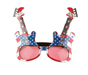 Partyline Amerikaanse rockgitaar bril voor volwassenen