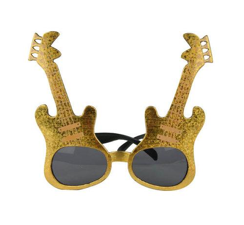 Partyline Gouden rockgitaar bril voor volwassenen