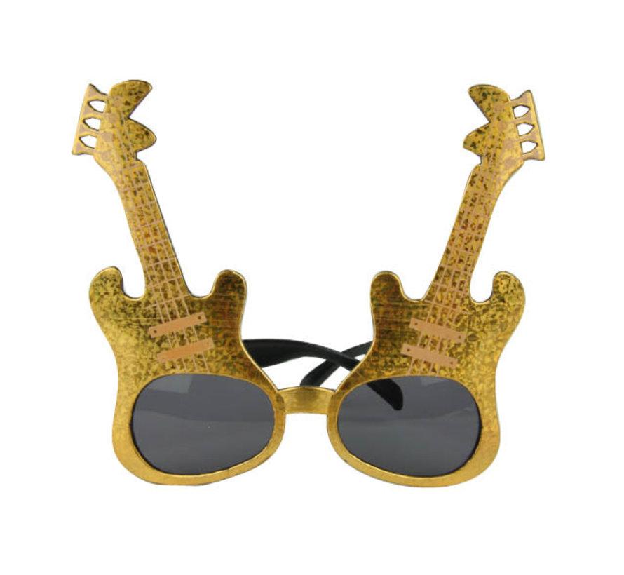 Gouden rockgitaar bril voor volwassenen