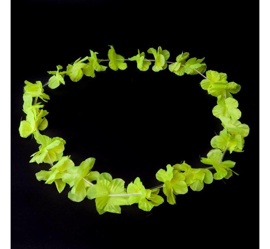 Neon gele Hawaii kransen 12 stuks - Neon Hawaii halskettingen