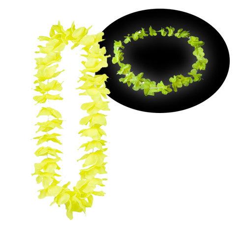Breaklight.be Neon gele Hawaii kransen 12 stuks - Neon Hawaii halskettingen