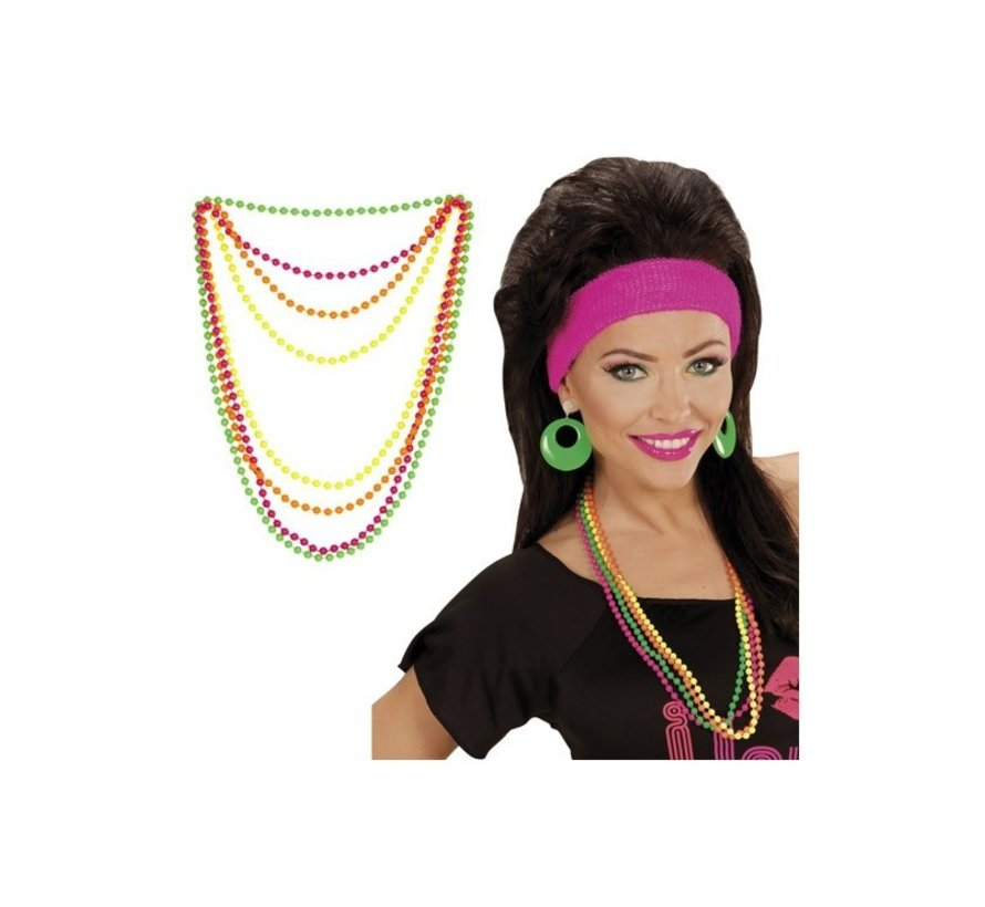 Bead necklace neon for adultes- set of 4 necklaces in neon colors