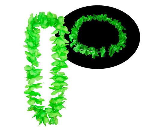 Breaklight.be Neon groene Hawaii kransen 12 stuks - Neon Hawaii halskettingen