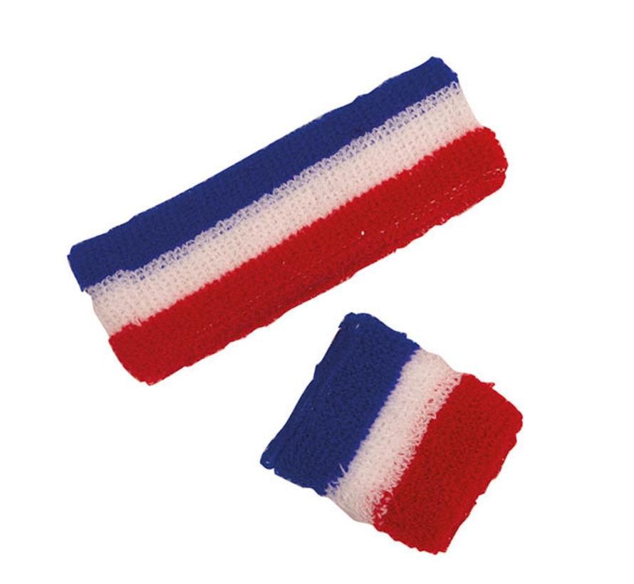 Set bandeau et poignet éponge supporter France  pour adults