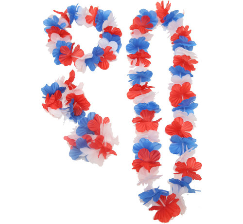 Partyline Hawaii Set France - Set contains 4 accessories - Hawaii headband, bracelets and necklace
