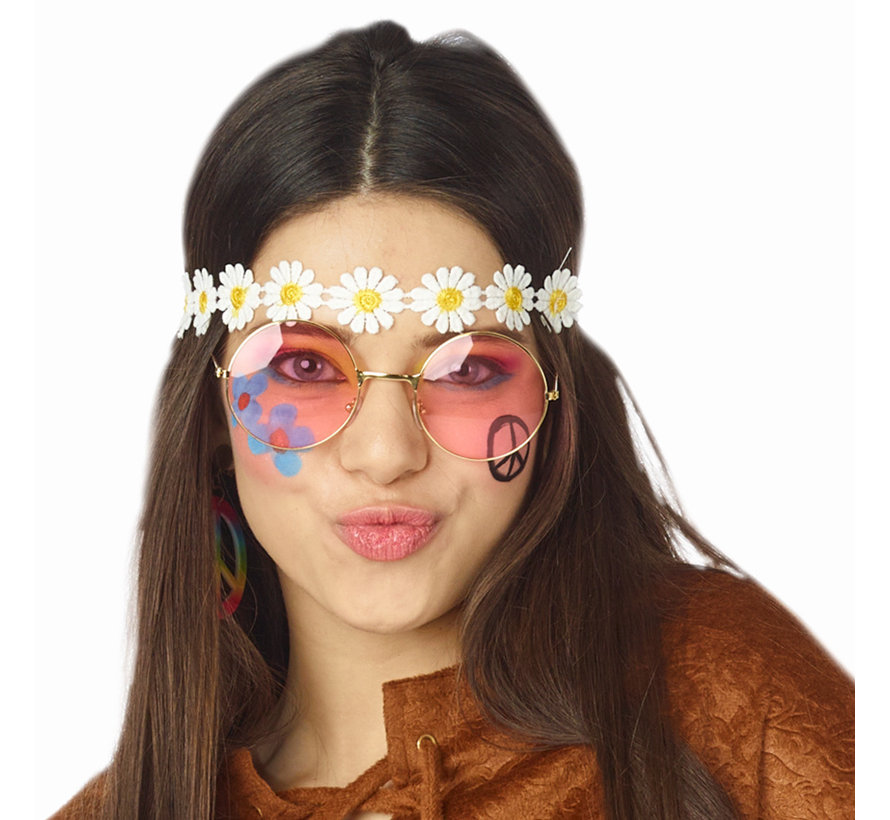 Hippie pink round XL glasses for adults - Ideal for festivals and Flower Power themed parties