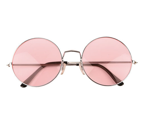 Partyline Hippie pink round XL glasses for adults - Ideal for festivals and Flower Power themed parties