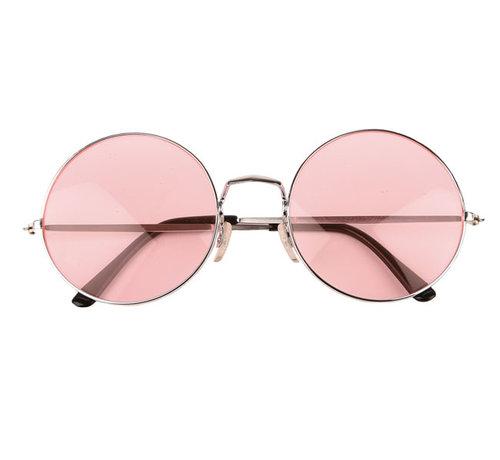Partyline Hippie roze ronde XL bril voor volwassenen - Ideaal voor festivals en Flower power themafeesten