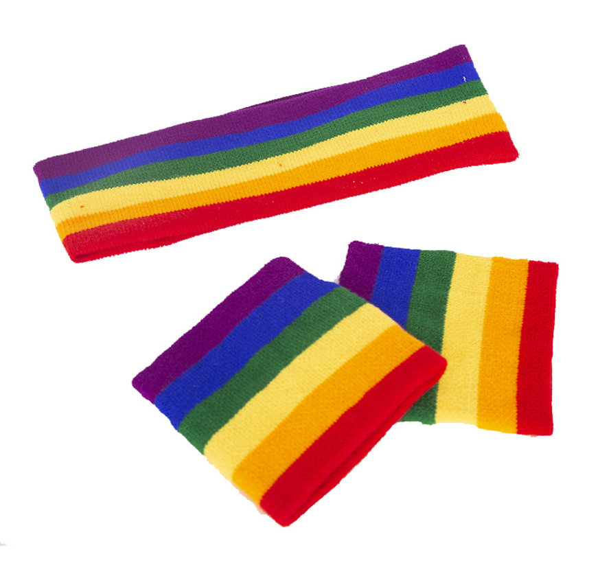 Sweatband set Rainbow for adults - set contains 3 pieces - 2 wristbands and  1 headband