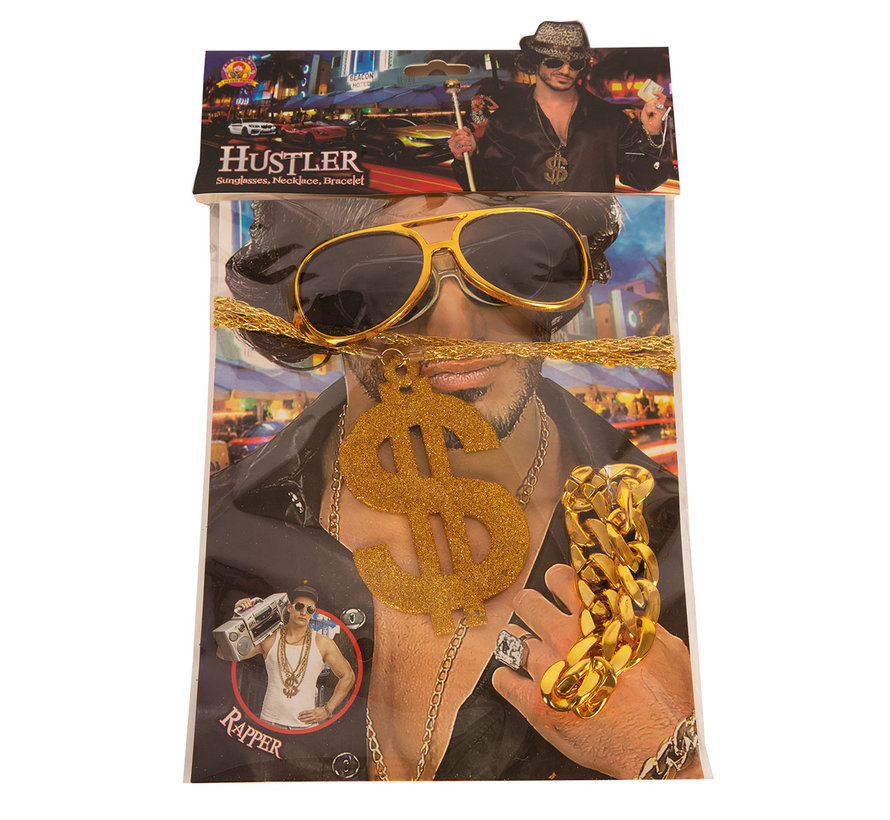Rapper accessories costume set consisting of a dollar necklace, glasses and a bracelet.