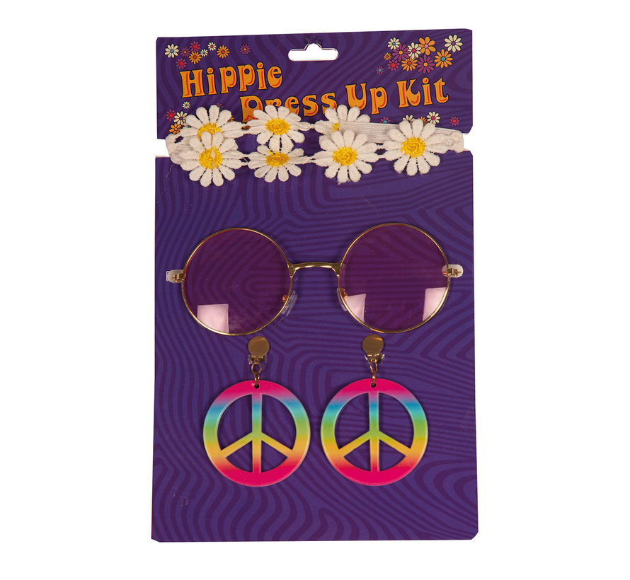 Hippie accessory set for women consisting of earrings, glasses and a headband.