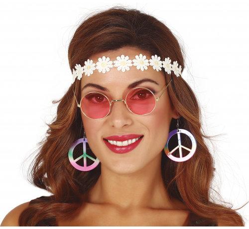 Partyline Hippie accessoire set voor vrouwen bestaande uit een oorbellen, een bril en een hoofband.
