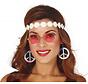 Hippie accessoire set voor vrouwen bestaande uit een oorbellen, een bril en een hoofband.
