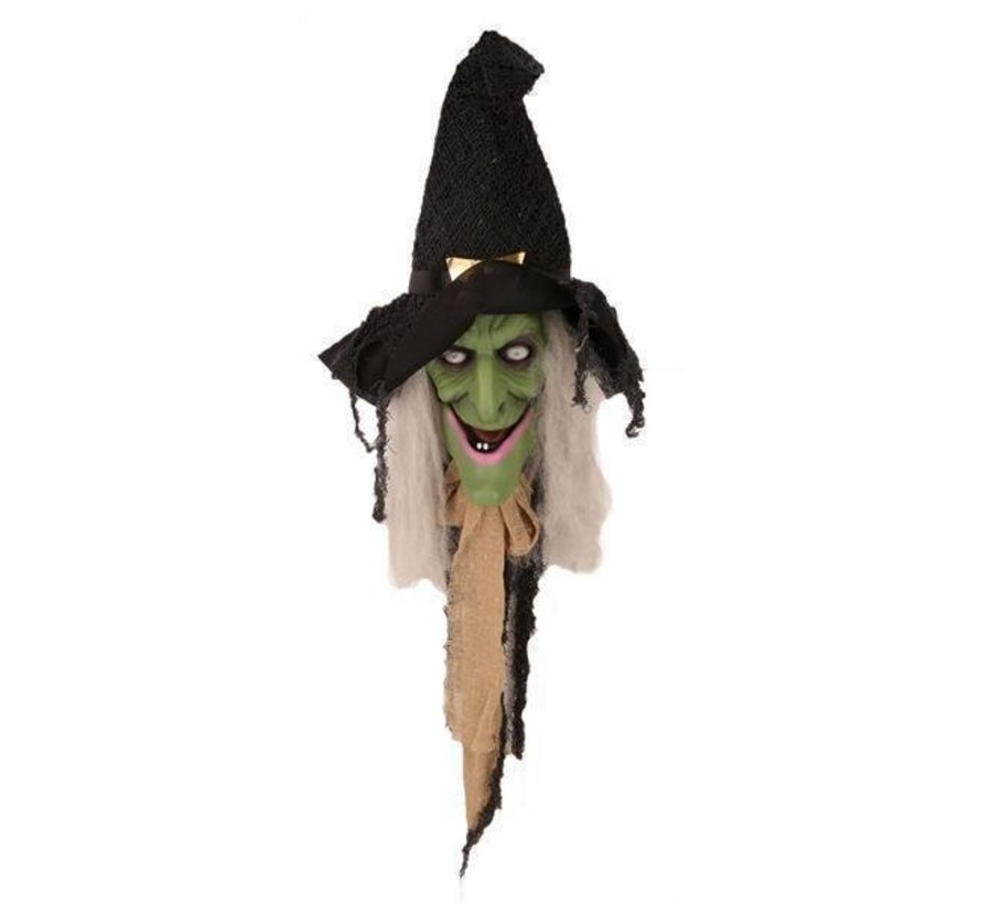 Sorcière parlante 70 cm   Décoration de porte Halloween