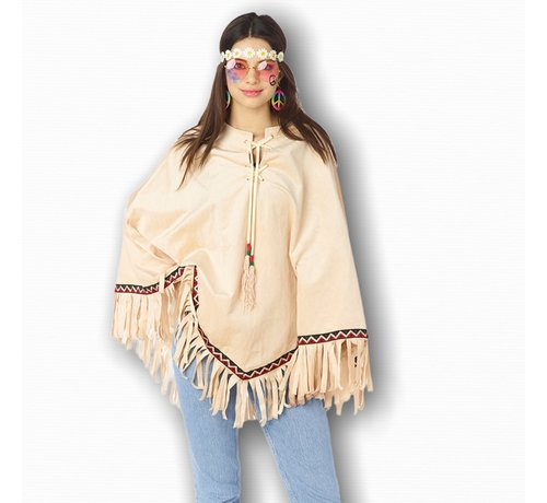 Partyline Hippie poncho voor volwassenen - Festival poncho - Indianen poncho