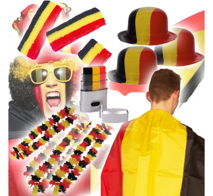 Belgisch supporters pakket - EK pakket met 33  Belgische gadgets