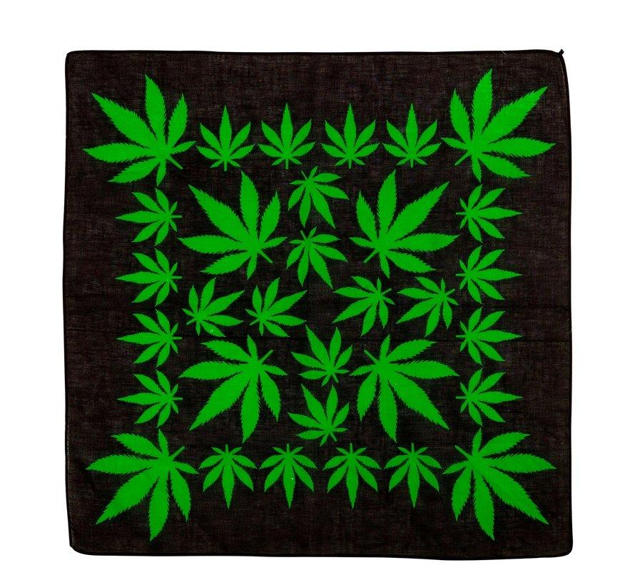 Bandana cannabis leaf 55x55 cm - 100% cotton - for adults / unisex