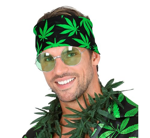 Widmann Bandana cannabis leaf 55x55 cm - 100% cotton - for adults / unisex