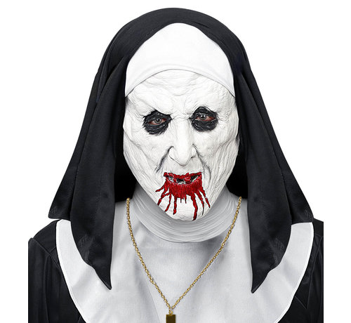 Widmann Mask horror nun with headpiece - half-face latex mask - for adults / unisex