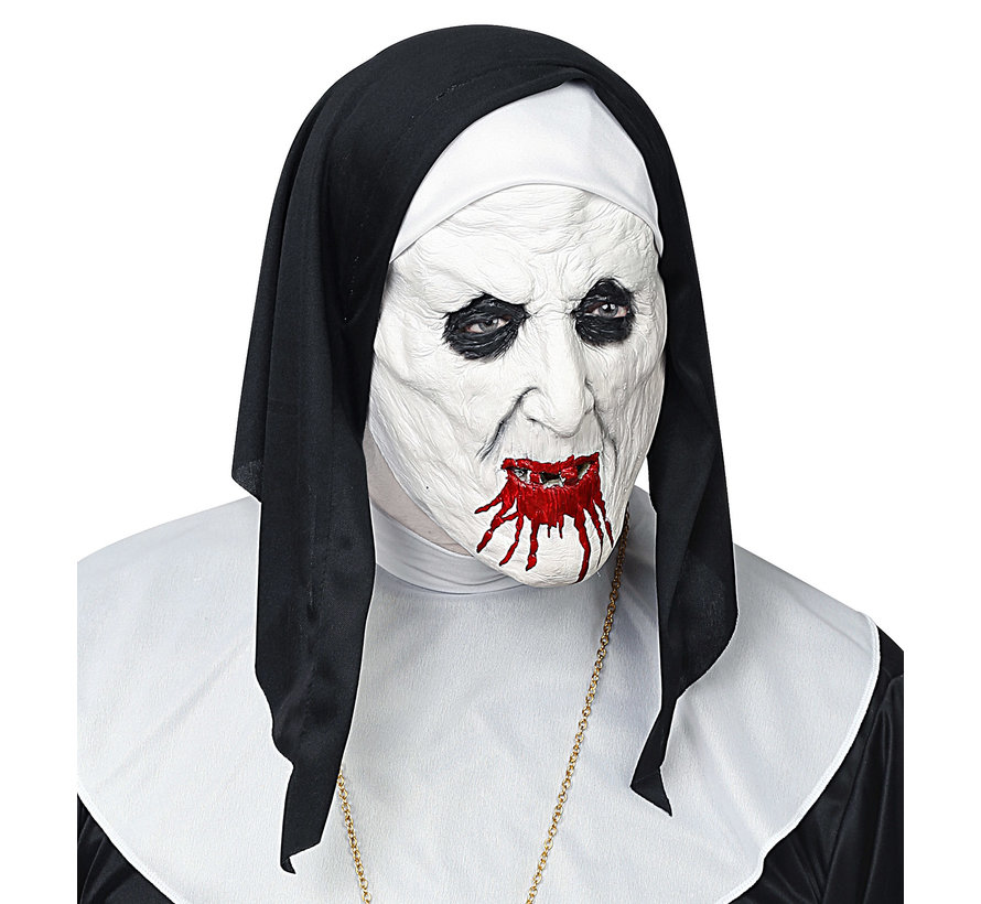 Mask horror nun with headpiece - half-face latex mask - for adults / unisex