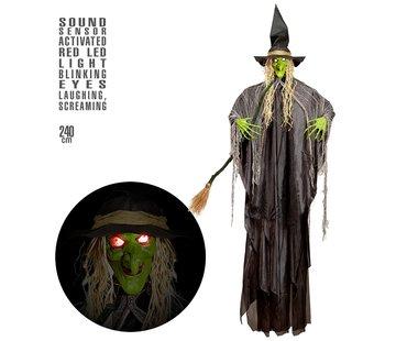 Widmann Halloween decoratie heks 240 cm met licht en geluid