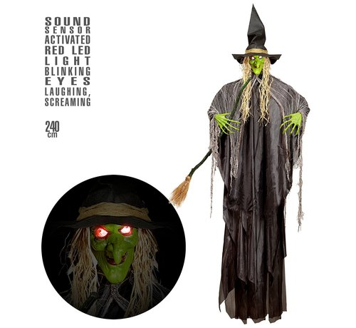 Widmann Halloween decoration witch 240 cm with light and sound- Hanging doll sound-activated