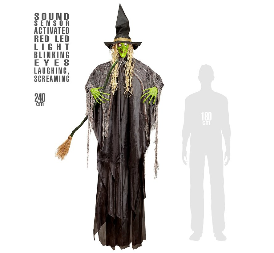 Halloween decoration witch 240 cm with light and sound- Hanging doll sound-activated
