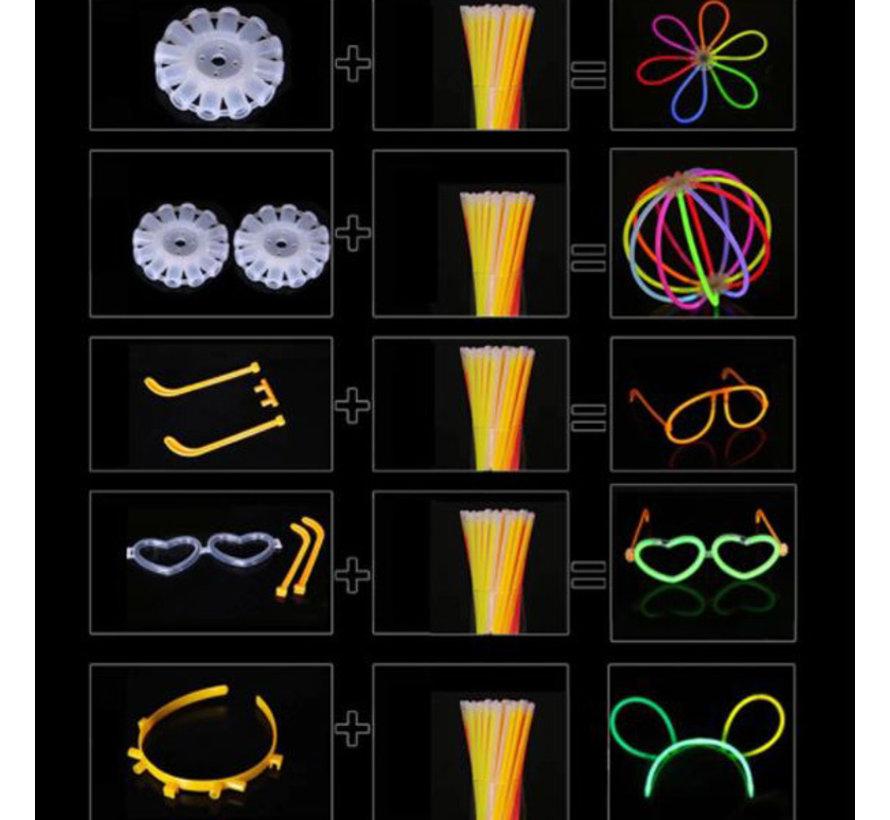XL Glow in the dark neon bracelets set - 100 bracelets and 110 accessories
