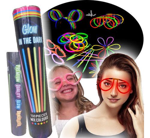 Breaklight.be XL Glow in the dark neon bracelets set - 100 bracelets and 110 accessories