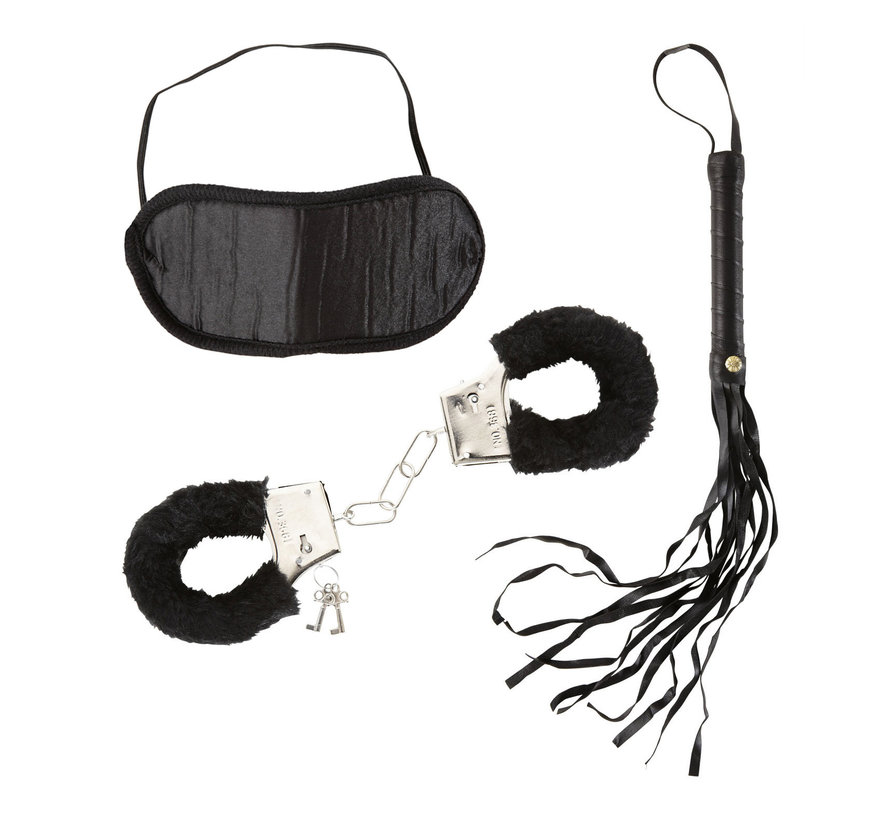 Love Set for lovers - Dominatrix Set - Fur handcuffs, headband and a whip