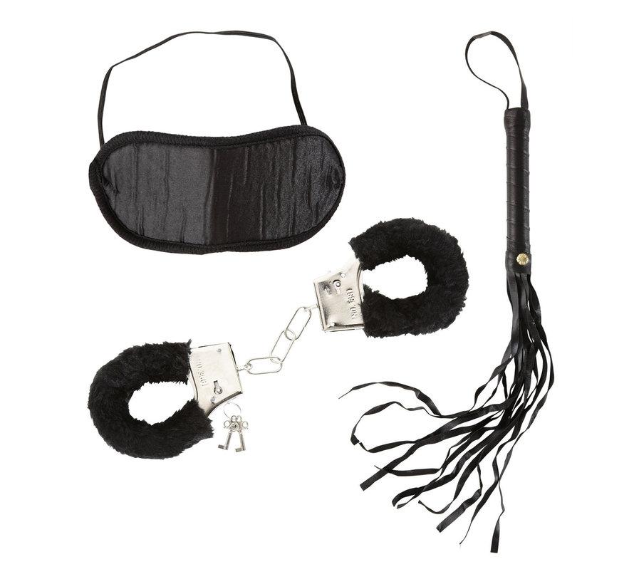 Love Set voor geliefden - Dominatrix Set -  Handboeien van bont, hoofdband en een zweepje