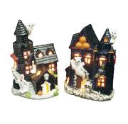 Widmann Halloween decoratie spookhuis kaarshouder - 2 stuks