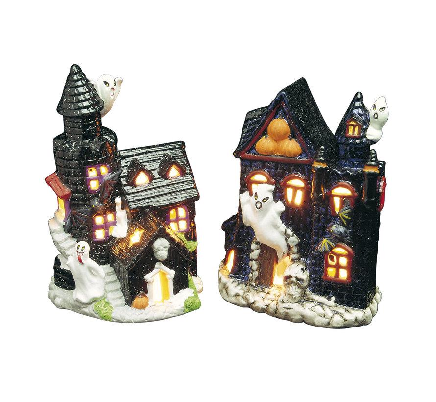 Halloween decoratie spookhuis kaarshouder - 2 stuks