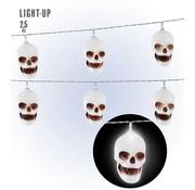 Widmann Halloween decoratie doodshoofd LED lichtketting 250 cm
