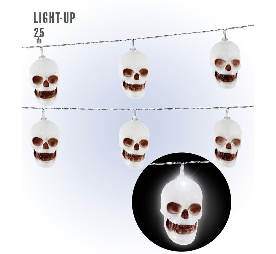 Halloween decoratie doodshoofd LED lichtketting 250 cm - 10 lichtpunten - werkt op 2 X AA Batterijen ( niet inbegrepen)