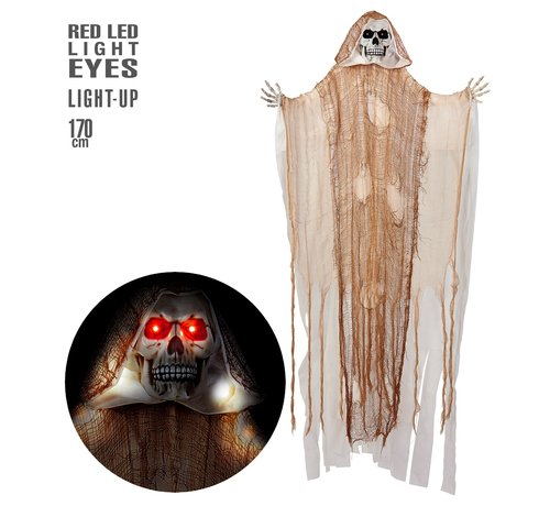 Widmann Halloween decoration Grim Reaper 170 cm with light - Hanging doll with luminous eyes