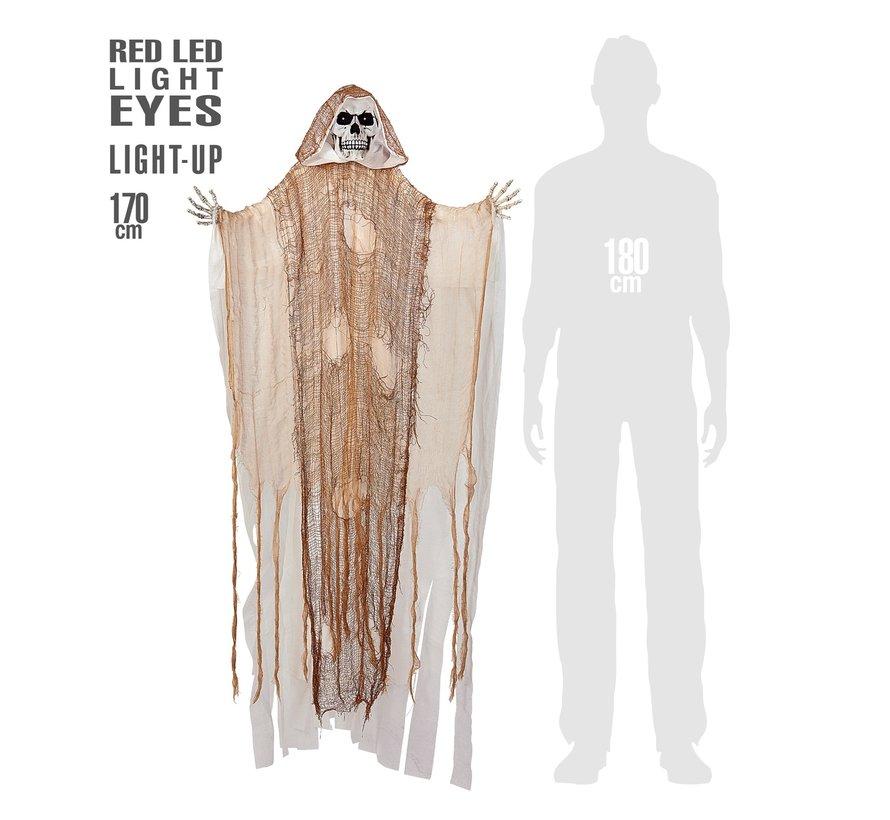 Halloween decoratie Magere Hein 170 cm met licht- Hang pop met lichtgevende ogen