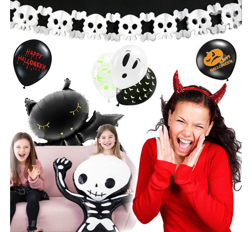 """Party Deco 25-piece Halloween decoration package """" Party @ Home """" - Uv Balloons - Foil balloons - Halloween garland"""