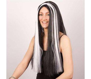 Partyline Wig Witch bl+white tress
